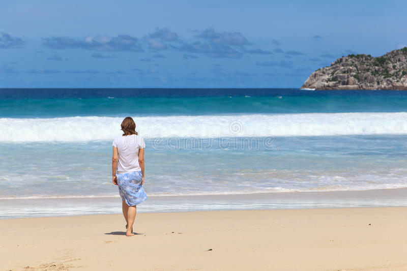 Woman On Tropical Beach Royalty Free Stock Photo
