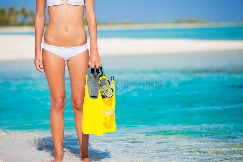 Woman on Tropical Island with Snorkel Gear stock images