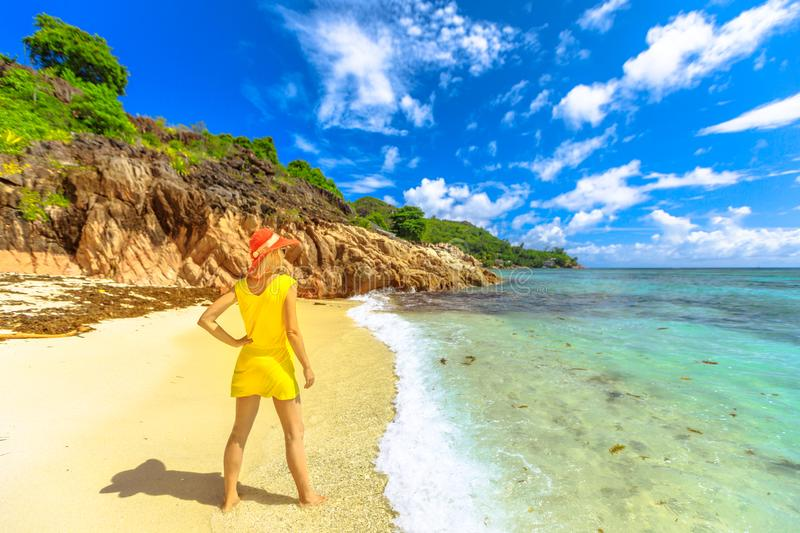 Woman at tropical Seychelles stock images
