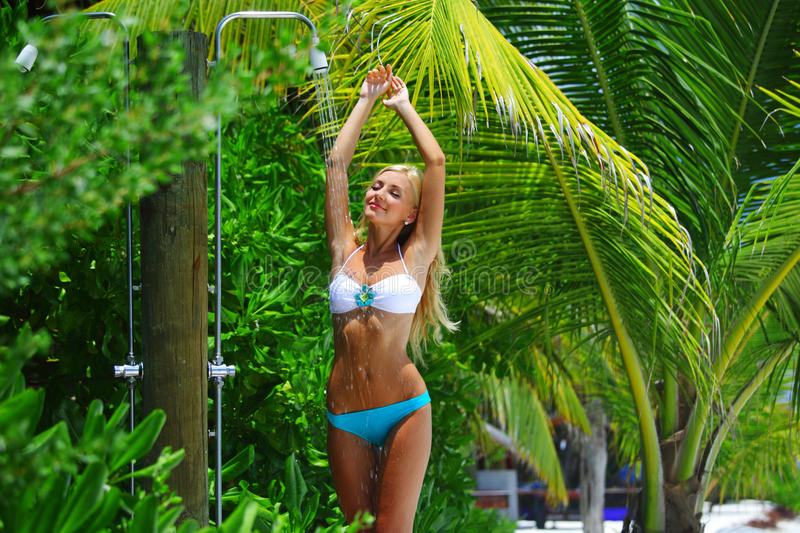 Download Woman in tropical shower stock image. Image of health - 23353339