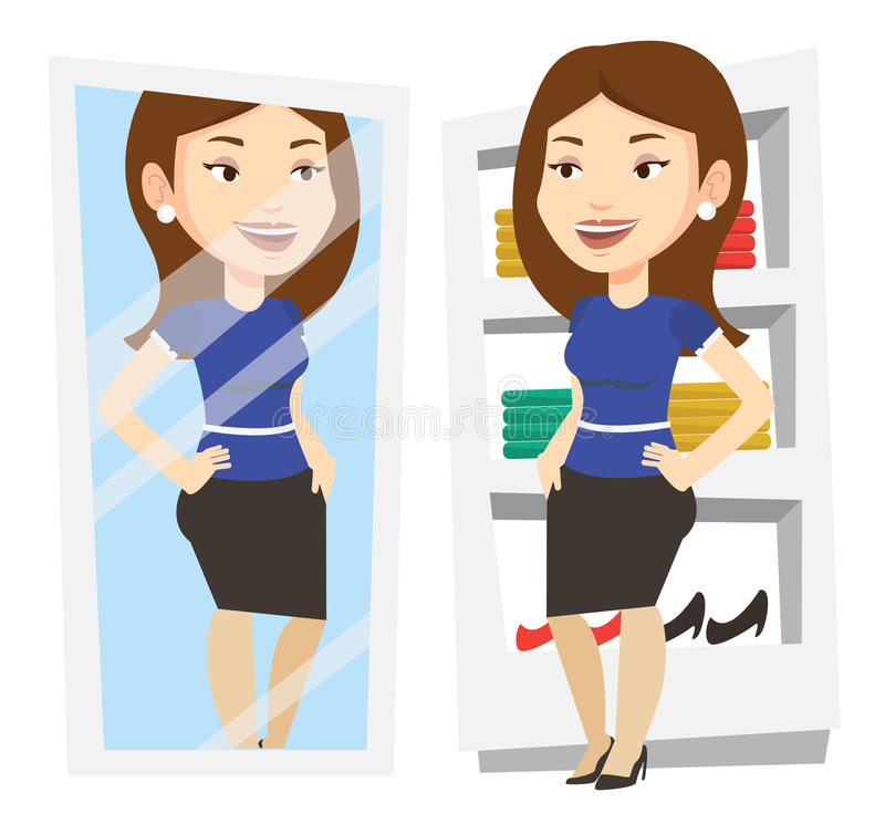 Download Woman Trying On Clothes In Dressing Room Stock Vector