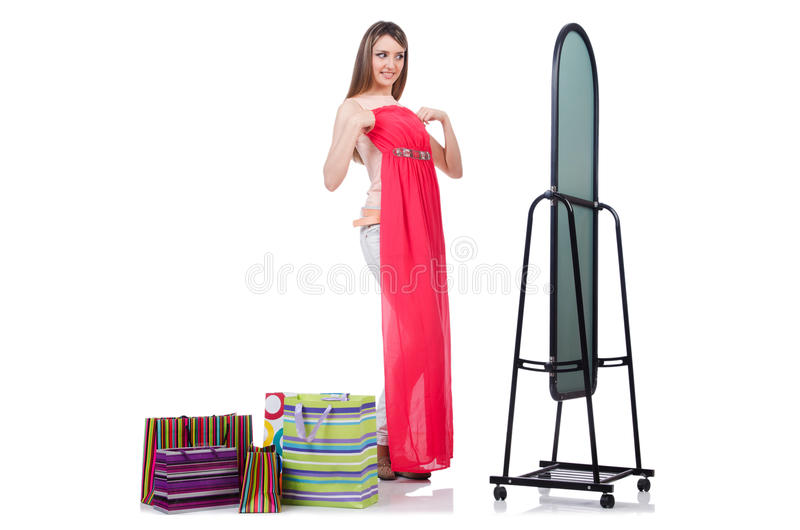 Download Woman trying new clothing stock photo. Image of female - 32923484