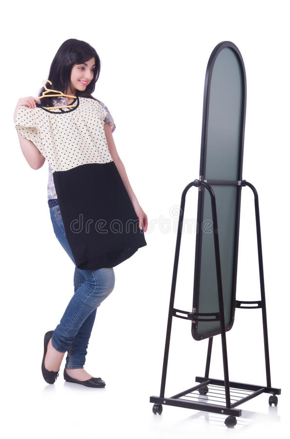 Woman Trying New Clothing Stock Photo