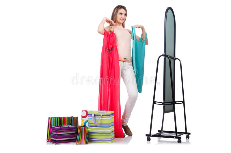Download Woman trying new clothing stock image. Image of elegant - 33224747