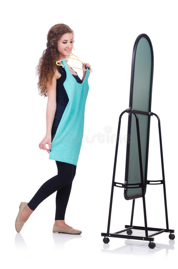 Download Woman trying new clothing stock image. Image of hanger - 33348277