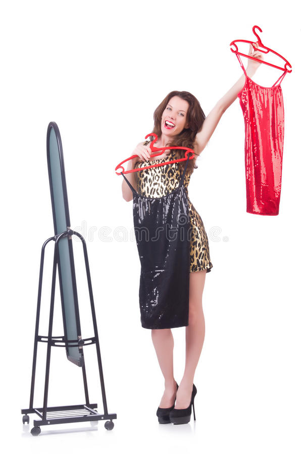 Woman Trying New Clothing Stock Image