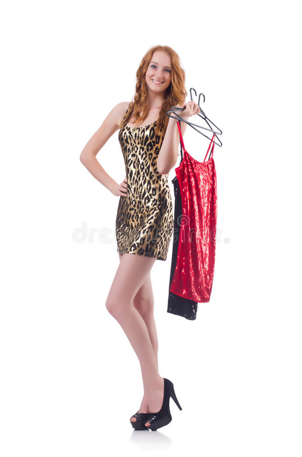Download Woman trying new clothing stock photo. Image of isolated - 34469072
