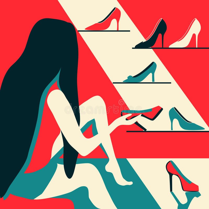 Woman trying on shoes. Pleasure of purchase. Illustration for magazines, sites,sales and discounts. royalty free illustration