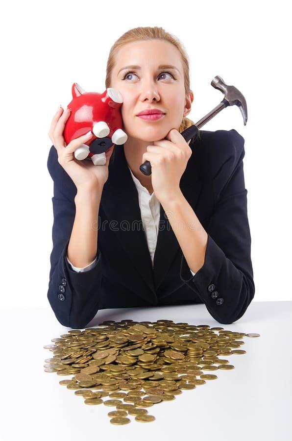 Download Woman Trying To Break  Piggybank Stock Image - Image: 26630105