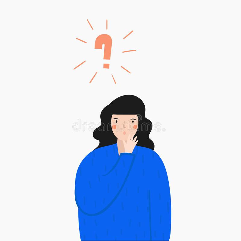 Woman trying to find decision for a problem. Concept illustration with lady. That looking for an idea stock illustration