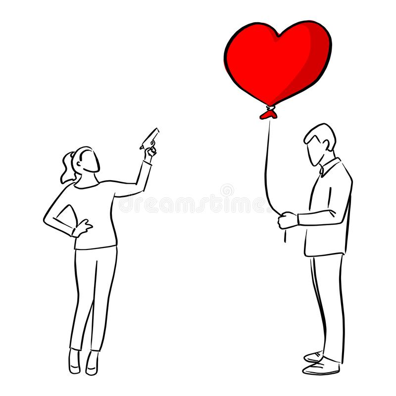 Woman trying to shoot the red heart shape balloon of a man vector illustration sketch doodle hand drawn with black lines isolated stock illustration