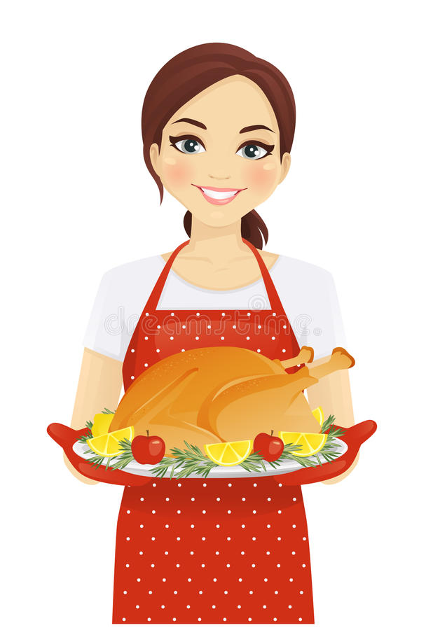 Woman with turkey. Smiling woman holding holiday turkey on platter stock illustration