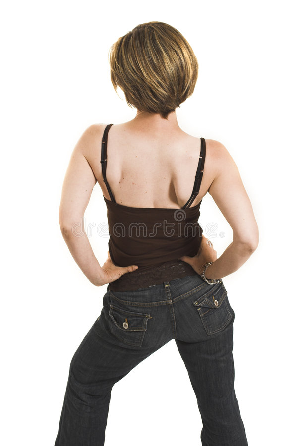 Woman turning her back stock image