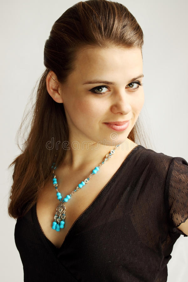 Download Woman in  turquoise stock photo. Image of background - 24233380