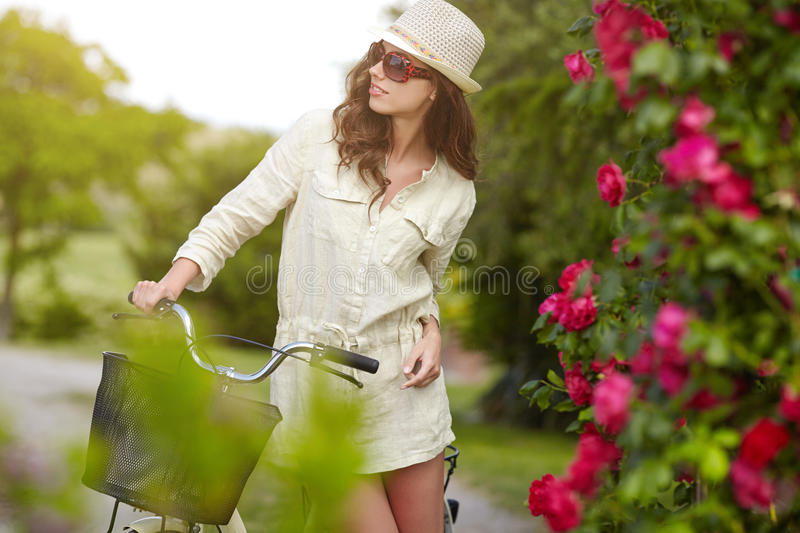 Woman in Tuscany garden. stock images