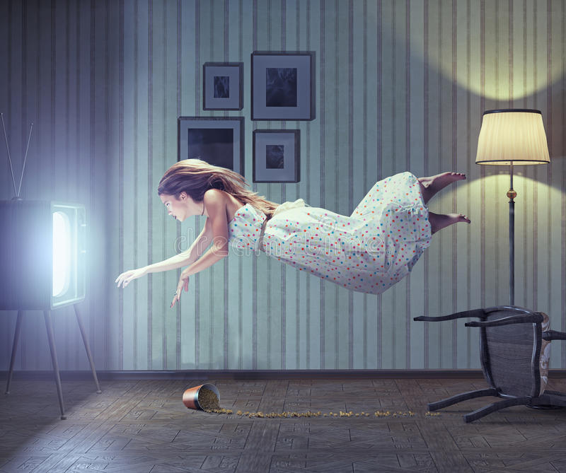 Woman and tv. Young beautiful woman flying to tv screen in vintage interior. Creative concept vector illustration