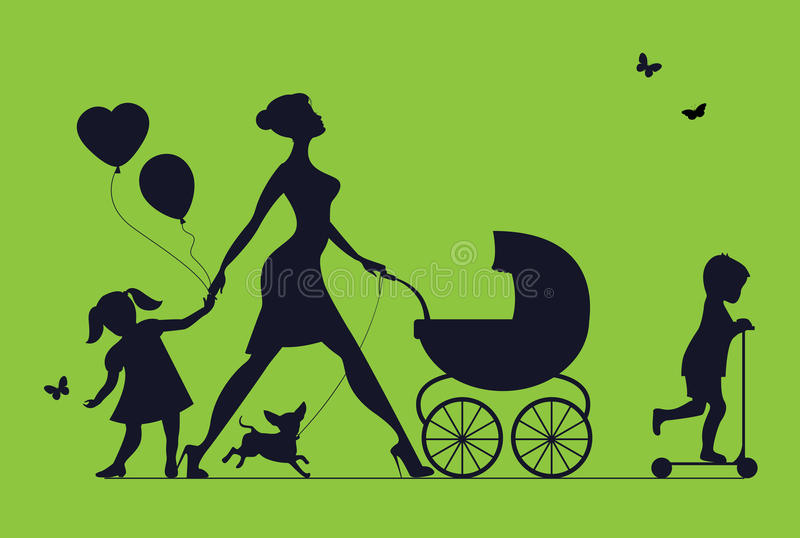 Woman with two children and dogs. Super mother walks vector illustration