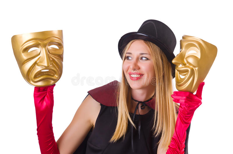 Woman With Two Masks Royalty Free Stock Photos