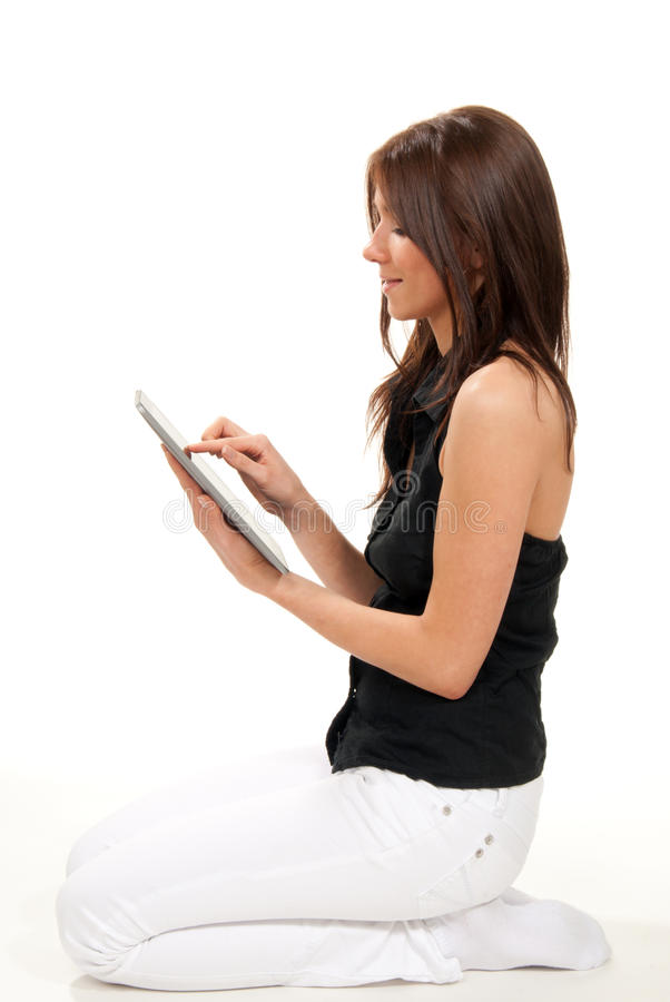 Download Woman Typing On Her New Electronic Tablet Touch Stock Photo - Image: 19028206
