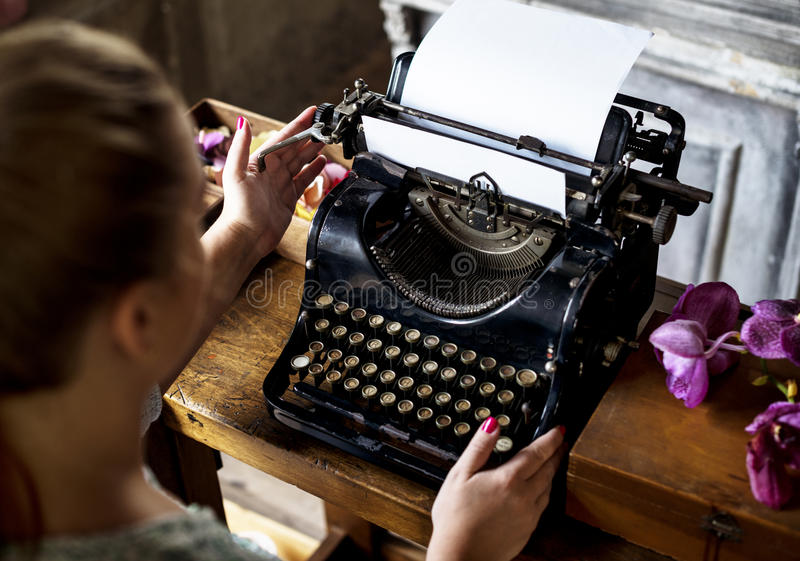 Woman Typing Typewriter On The Table Stock Photo - Image ...