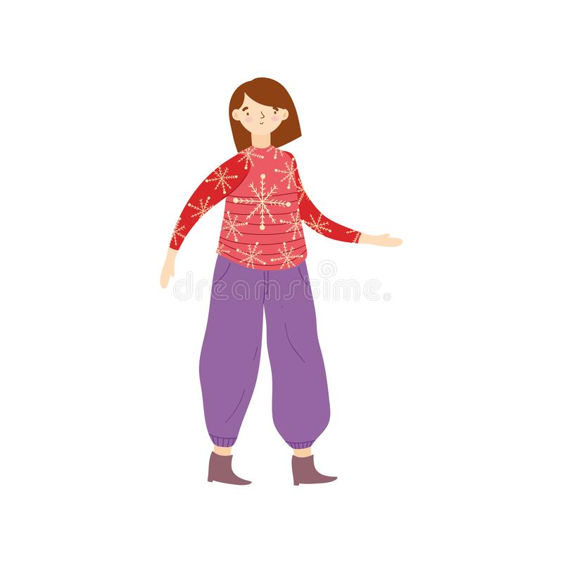 Woman with ugly sweater character royalty free illustration