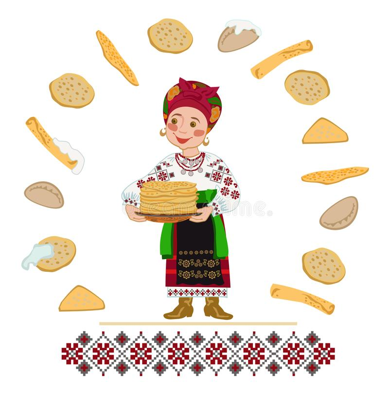 Ukrainian woman bear a plate of pancakes holiday of Shrovetide. Woman in a Ukrainian folk costume with a plate with pancakes. Congratulation with the Carnival or stock illustration