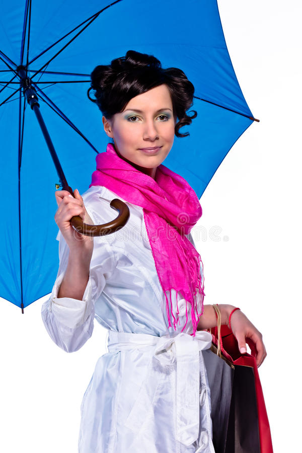 Download Woman with umbrella stock photo. Image of blue, dressed - 19693132
