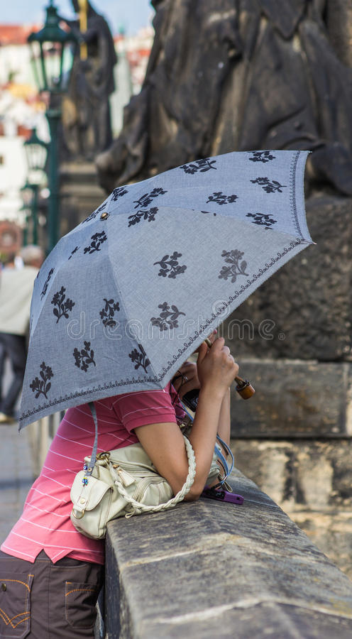 Download Woman with umbrella stock image. Image of peace, focus - 26734227