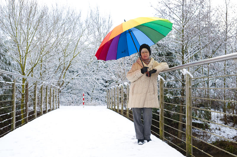 Woman with an umbrella on a bridge. Woman with a colorful umbrella on a footbridge royalty free stock image