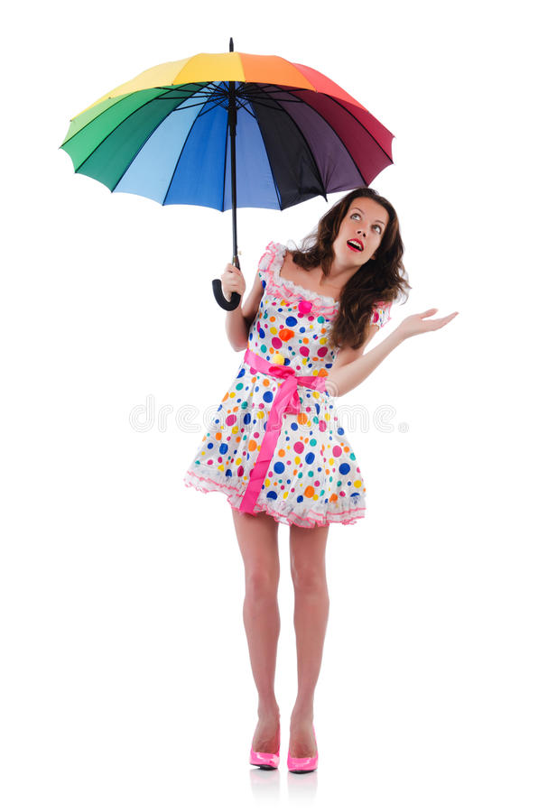 Download Woman with umbrella stock photo. Image of dress, background - 34282764