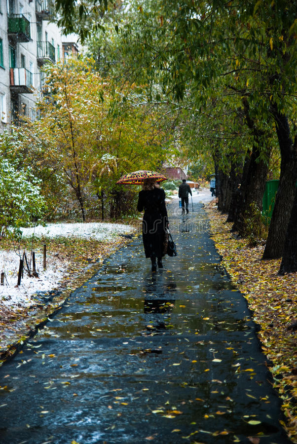Woman with an umbrella walks along. The sidewalk in the fall. Puddles and leaves on the new asphalt. Snow on green grass royalty free stock photography