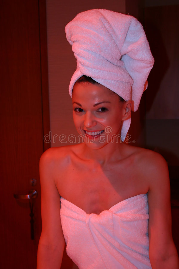 Download Woman under Heat lamp stock image. Image of woman, happy - 433593