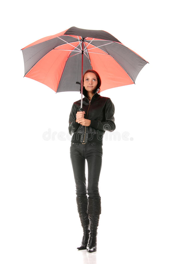 Download Woman Under Red And Black Umbrella Stock Image - Image: 11240147