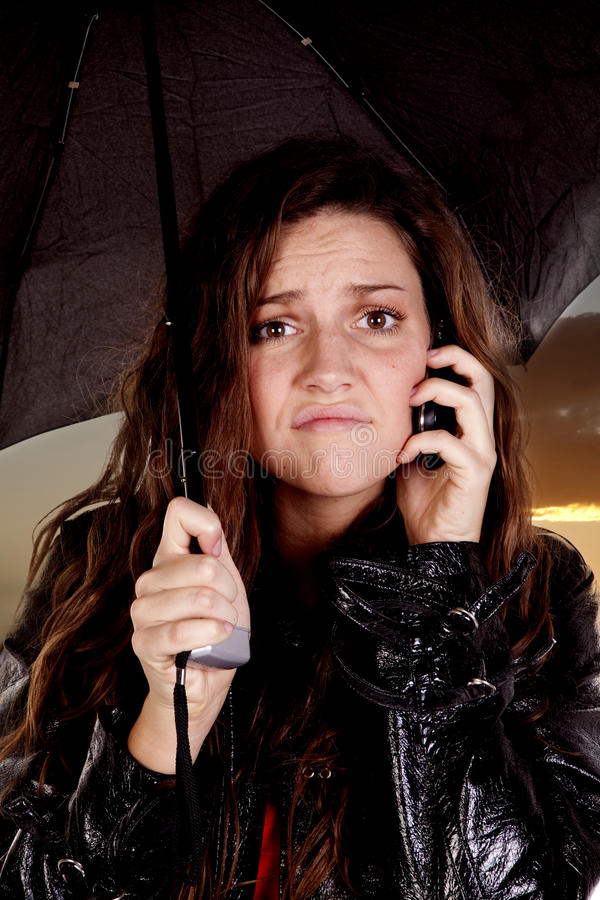 Download Woman Under Umbrella On Phone Stock Image - Image: 16956293