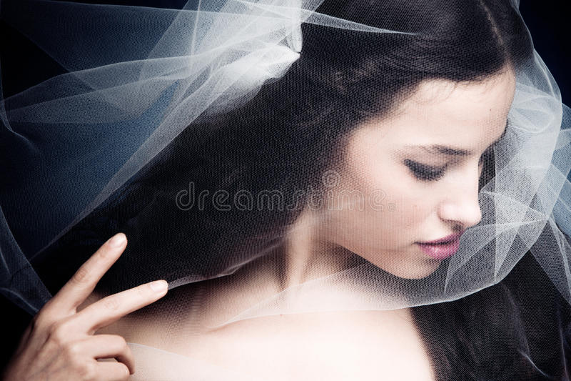 Woman Under Veil Stock Image