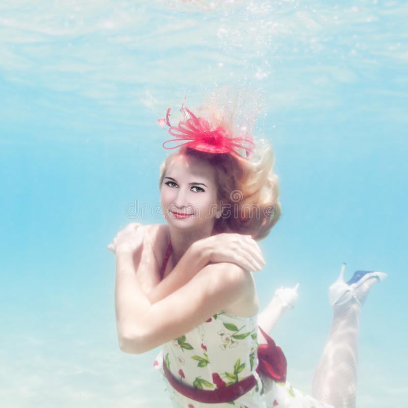 Download Woman underwater stock image. Image of dressed, pool - 19358347