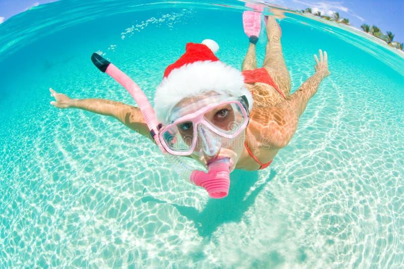 woman Underwater christmas stock photo