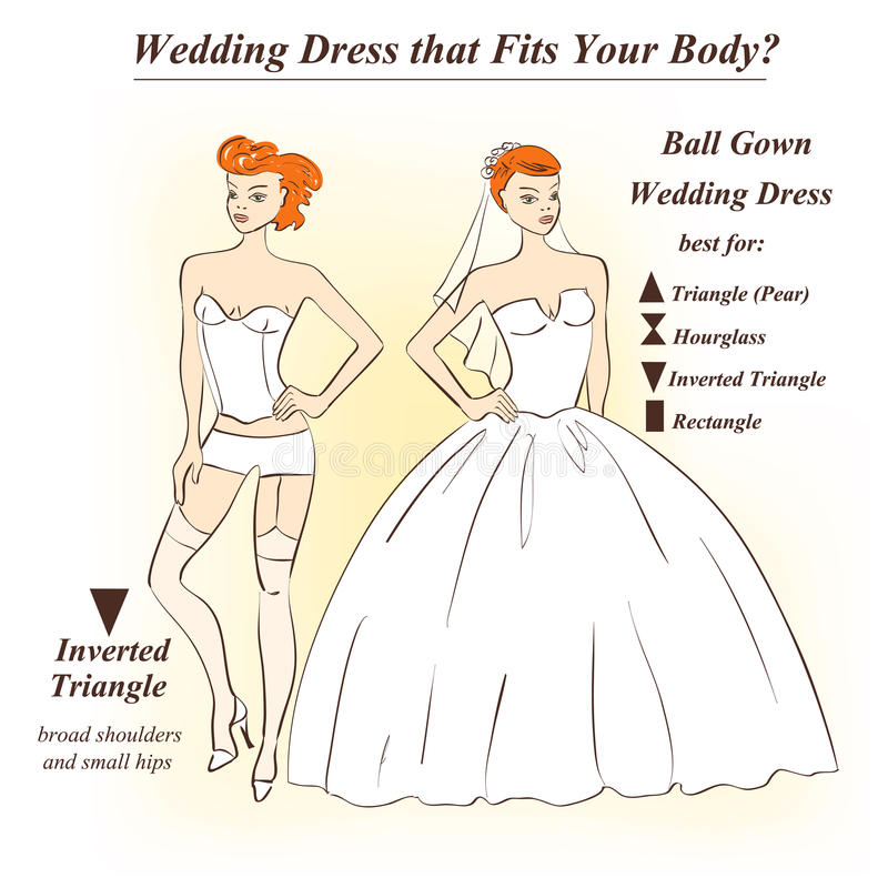 Woman in underwear and Ball Gown wedding dress. Infographic of Ball Gown wedding dress that fits for female body shape types. Illustration of woman in underwear vector illustration