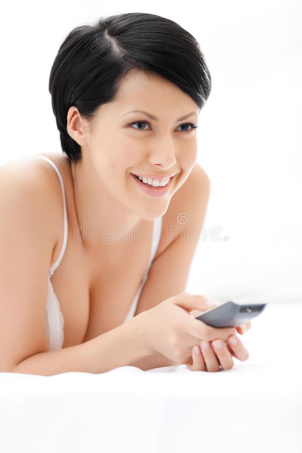 Woman In Underwear Is Lying In The Soft Bed Stock Photo