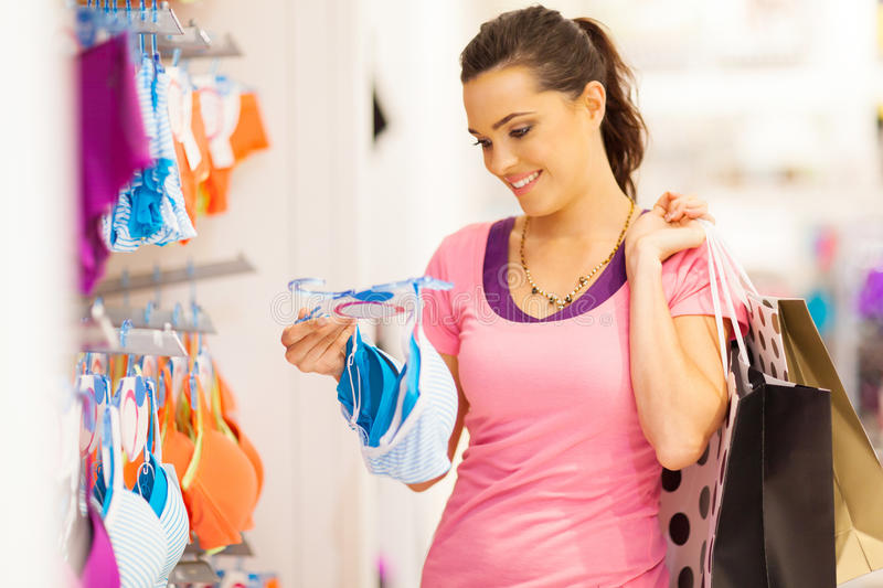 Woman Underwear Shopping Stock Photo