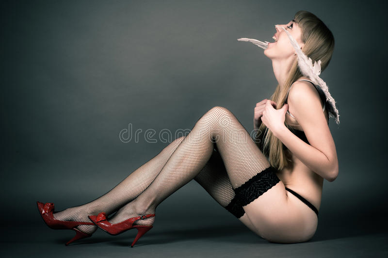Woman in underwear royalty free stock photos