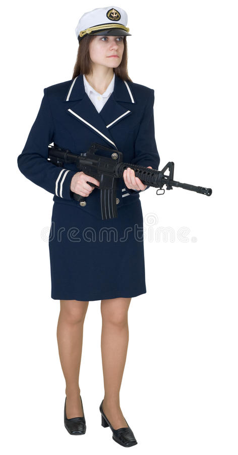 Download Woman In Uniform Sea Captain With Rifle Stock Image - Image: 12768189