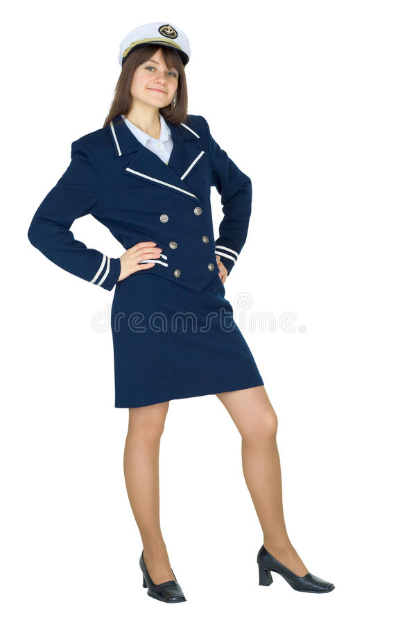 Woman in uniform of sea captain standing royalty free stock photo