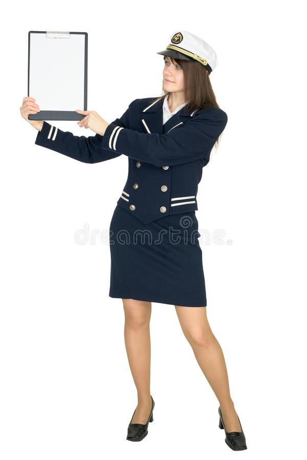 Woman in uniform sea captain with tablet royalty free stock photography