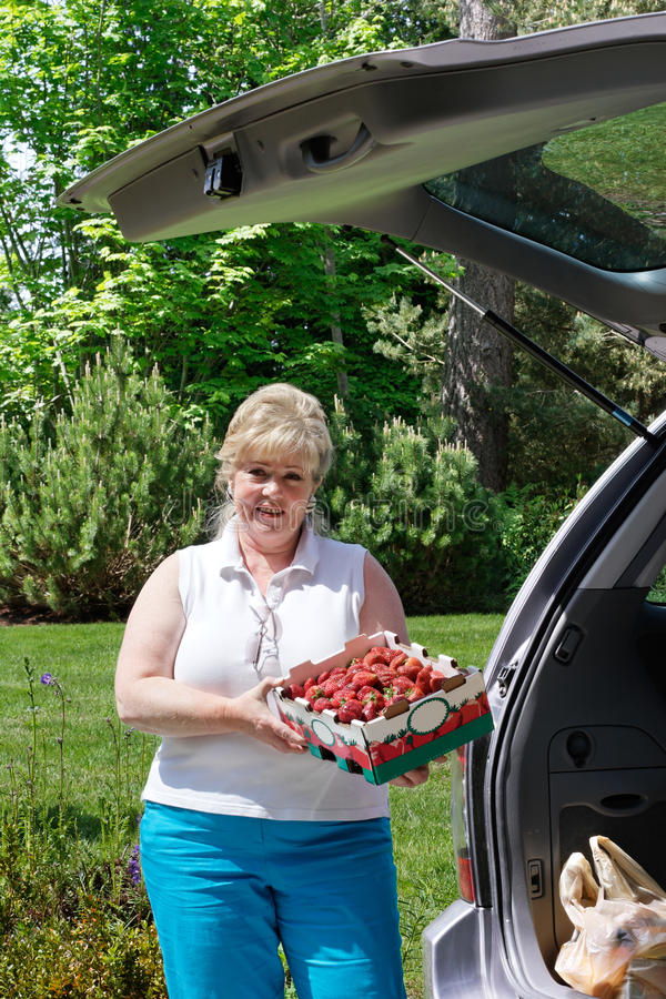 Woman Unloading Box Strawberries Royalty Free Stock Image