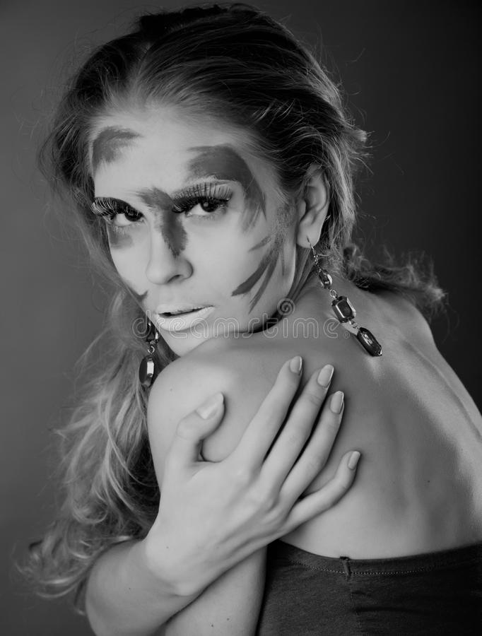A Woman With Unusual Make-up Stock Photos