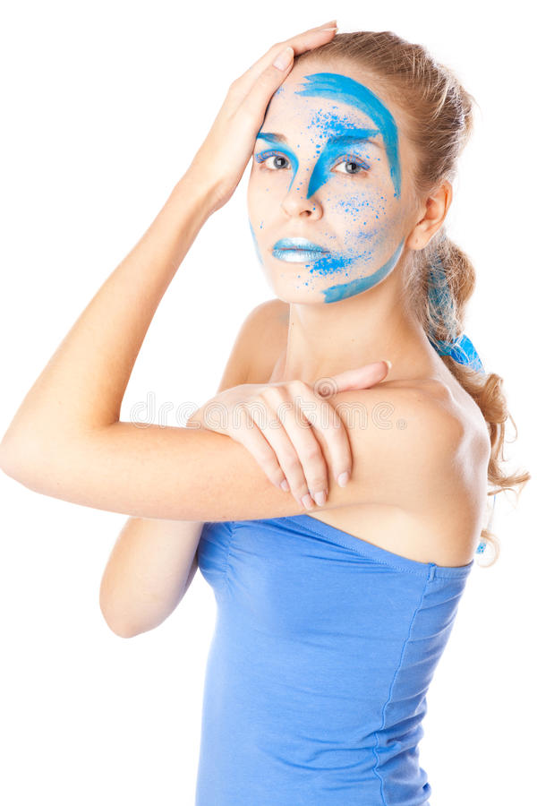 Download A Woman With Unusual Make-up In Studio Stock Image - Image: 28725201