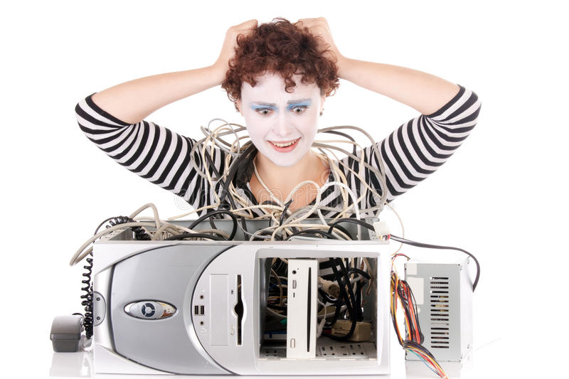 Woman Upset With Computer Stock Image