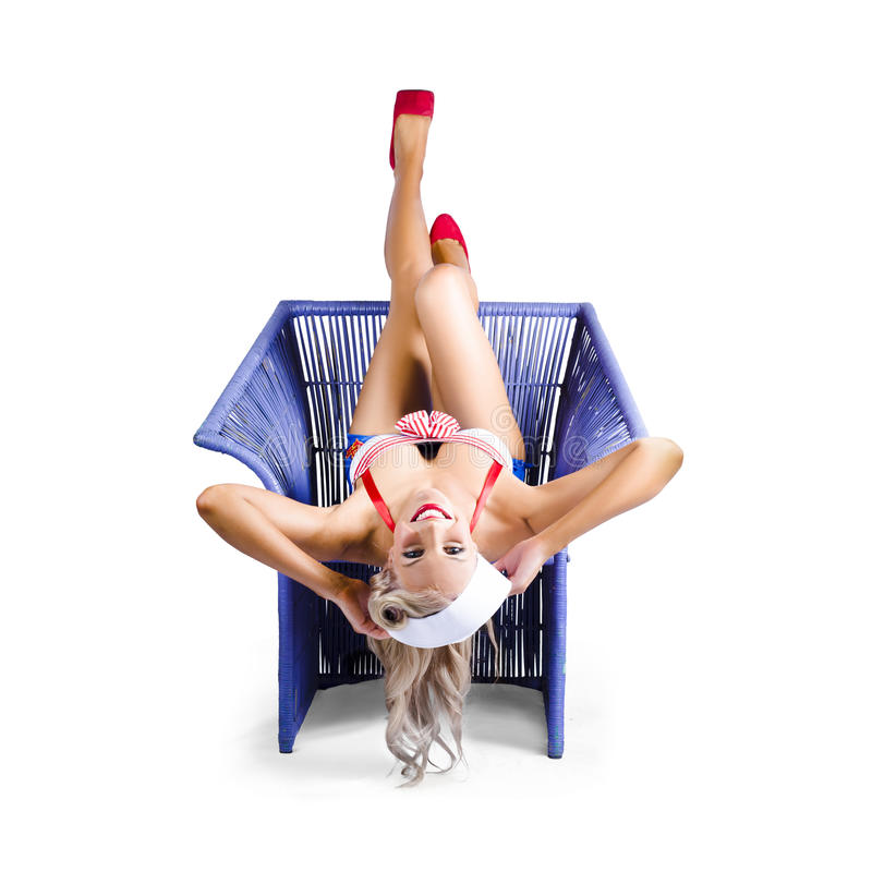 Nude girl upside down chair safe
