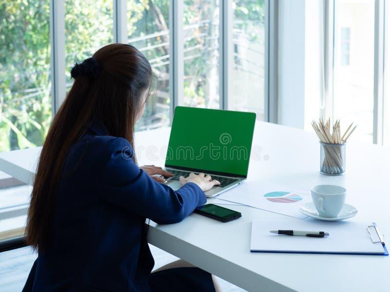 Woman use laptop stock photo